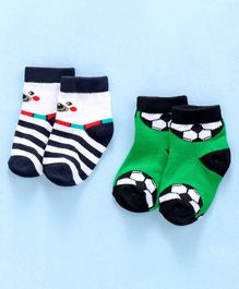 Cute Walk by Babyhug Anti Bacterial Ankle Length Non Terry Socks Football & Bear Design Pack of 2 - White Green