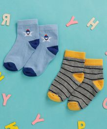 Cute Walk By Babyhug Non Terry Antibacterial Ankle Length Socks With Star and Stripe Print Set of 2 - Multicolor