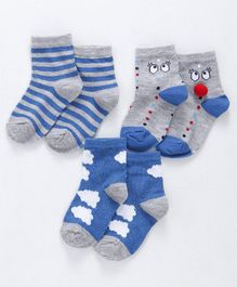 Cute Walk By Babyhug Non Terry Antibacterial Ankle Length Socks With Stripe Print Set of 3 - Blue  White & Grey