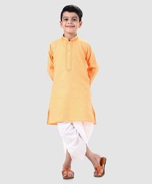Dapper Dudes Solid Full Sleeves Kurta & Dhoti Set - Yellow
