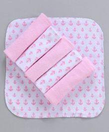 Babyhug Cotton Napkins Pack of 6 - White Pink
