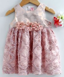 Sunny Baby Sleeveless Frock Flower Applique - Peach