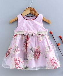 Sunny Baby Sleeveless Floral Printed & Embellished Frock - Light Pink