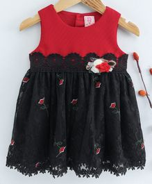 Sunny Baby Sleeveless Laced Frock With Rose Embroidery - Red Black