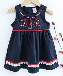 Sunny Baby Sleeveless Frock Floral Embroidery - Navy Blue