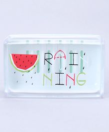Soap Case With Transparent Cover Raining Print - White