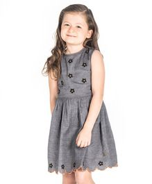 Cherry Crumble California Sleeveless Flower Decorated Scallop Trim Dress - Grey