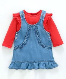 Babyoye Cotton Full Sleeves Ruffled Dungaree Style frock With Inner Tee - Red Blue