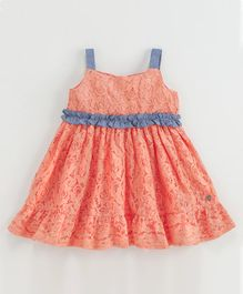 Babyoye Sleeveless Cotton Chantilly Lace Frock - Coral