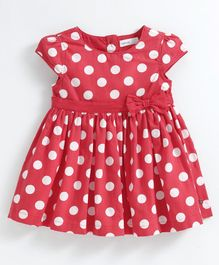 Babyoye Cotton Cap Sleeves Frock Polka Dot Print - Red