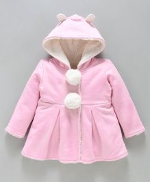 Babyoye Full Sleeves Hooded Pom Pom Blazer - Light Pink