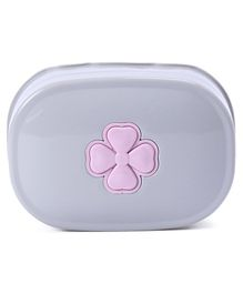 Soap Case With Flower Print - Grey