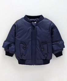 Babyoye Full Sleeves Ruffled Jacket - Navy Blue