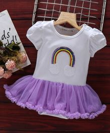 Mark & Mia Frock Style Onesie Sequin Rainbow Patch - White Purple