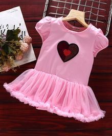 Mark & Mia Frock Style Onesie Sequin Heart Patch - Light Pink