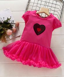 Mark & Mia Frock Style Onesie Sequin Heart Patch - Fuchsia Pink
