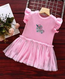 Mark & Mia Flutter Sleeves Frock Style Onesie Unicorn Patch - Pink