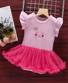 Mark & Mia Flutter Sleeves Frock Style Onesie Checked - Pink