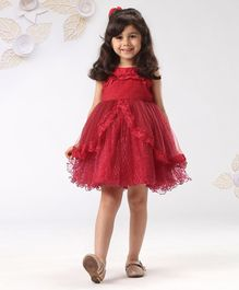 Mark & Mia Sleeveless Party Frock Lace Detail - Red