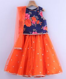 Beebay Rose Print Sleeveless Choli With Dupatta & Lehenga Set - Orange