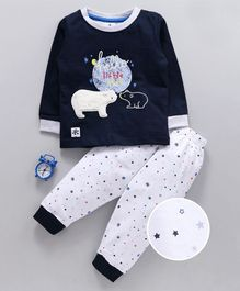 Ollypop Full Sleeves Night Suit Bear Embroidery - Navy Blue White