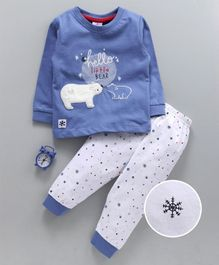 Ollypop Full Sleeves Night Suit Bear Embroidery - Blue White
