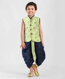 3fc590587 Ethnik s Neu Ron Sleeveless Kurta   Dhoti Set Floral Print - Green Blue