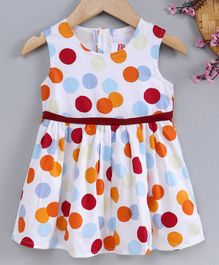 Babyhug Sleeveless Frock Polka Dot Print - Multicolor