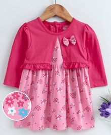 Babyhug Frock With Attached Shrug Floral Print  - Pink