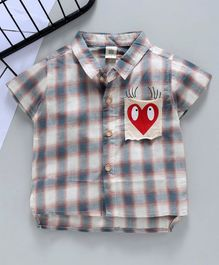 Kookie Kids Half Sleeves Checked Shirt Heart Print - Grey