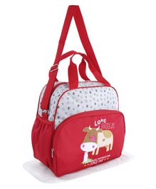 Diaper Bag With Changing Mat Cow Print - Red