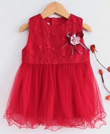 Kookie Kids Sleeveless Floral Embroidered Frock - Red