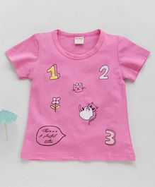 Kookie Kids Half Sleeves Tee Kitty & Fruit Print - Pink