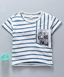 Kookie Kids Half Sleeves Tee Striped - White Blue