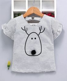 Kookie Kids Half Sleeves Striped Top Reindeer Print - White