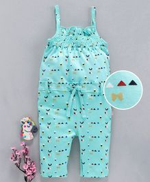 Mom's Love Singlet Jumpsuit Multi Print - Sea Blue
