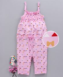 Mom's Love Singlet Jumpsuit Multi Print - Pink