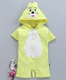 Mom's Love Half Sleeves Hooded Romper Animal Design - Yellow