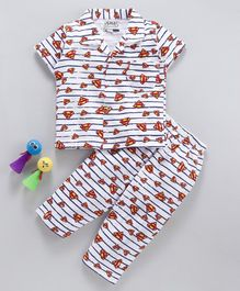 Eteenz Half Sleeves Stripe Night Suit Superman Print - White