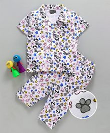 Eteenz Half Sleeves Night Suit Snoopy Print - White