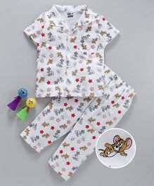 Eteenz Half Sleeves Night Suit Tom & Jerry Print - White