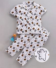 Eteenz Half Sleeves Night Suit Panda Print - White