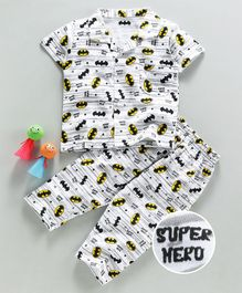 Eteenz Half Sleeves Night Suit Super Hero Print - White