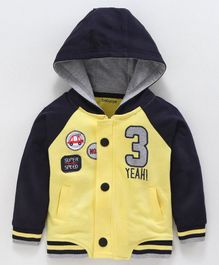 Babyoye Full Sleeves Hooded Cotton Sweatshirt Car Patch - Yellow
