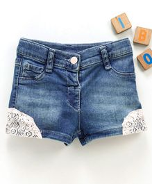 LC Waikiki Lace Hem Denim Shorts - Light Blue