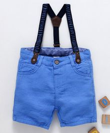 LC Waikiki Solid Shorts With Suspender - Blue