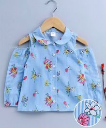 LC Waikiki Flower Print & Striped Full Sleeves Shirt - Blue