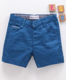 LC Waikiki Knee Length Solid Shorts With Front & Back Pocket - Blue