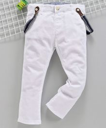 LC Waikiki Full Length Solid Trousers With Suspenders - White