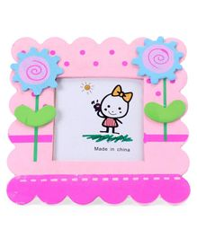 Square Photo Frame Flower Design - Pink